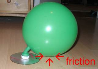 prototype hovercraft: friction between balloon and surface